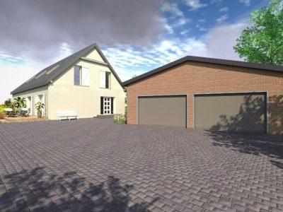 Wizualizacja wyremontowanego budynku wraz z garażami