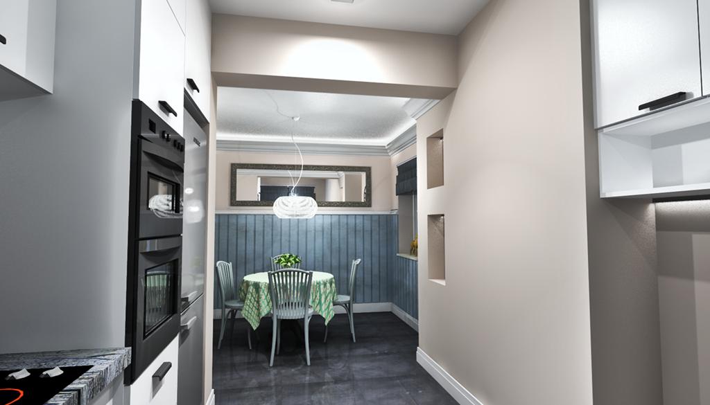 Aranżacja kuchni z jadalnią i salonu mieszkania w Koszalinie